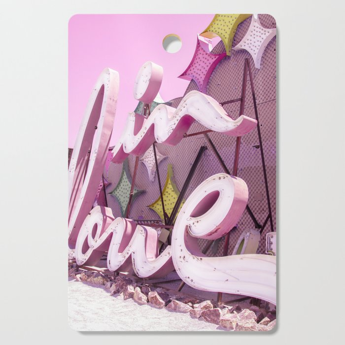 """Pink """"In Love"""" Sign at the Neon Museum in Las Vegas, Nevada Cutting Board"""