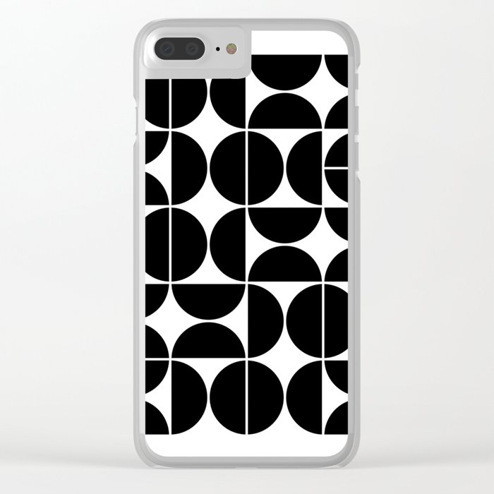 Mid Century Modern Geometric 04 Black Clear iPhone Case