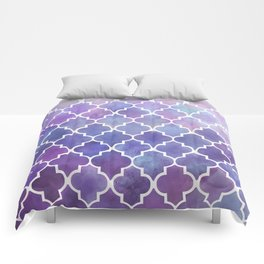 Purples & Pinks Watercolor Moroccan Pattern Comforters