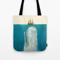 shower Tote Bags featuring The Whale - colour option by Terry Fan
