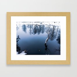 A large pond in the Park in winter, which reflects the crowns of trees Framed Art Print