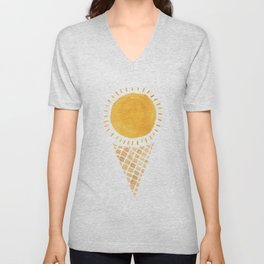 Sun Ice Cream Cone Unisex V-Neck