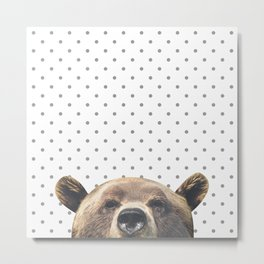 Bear - Gray Dots Metal Print