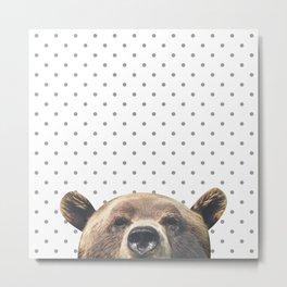 Bear - Gray Dots Metal Print