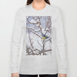 Winter Scene Blue Tit Snowy Branches Natural Background #decor #society6 #buyart Long Sleeve T-shirt