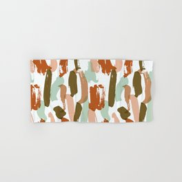 Retro Color Block Stripes Popsicle Sticks Rusty Orange Hand & Bath Towel
