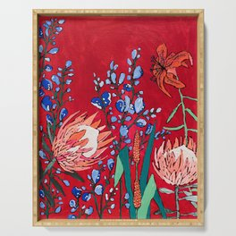 Red and Blue Floral with Peach Proteas Serving Tray