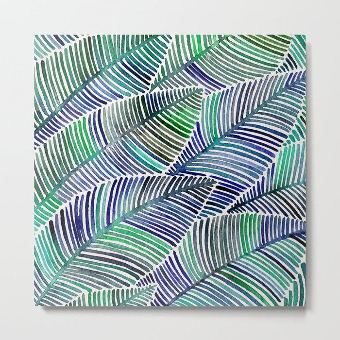 Tropical Leaves – Blue/Green Palette Metal Print