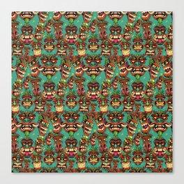Tiki Head Pattern Canvas Print