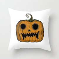 pumpkin Throw Pillows featuring Pumpkin by Michelle Wenz