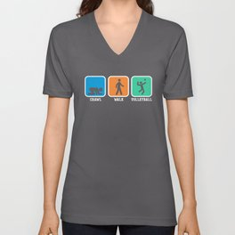 Crawl Walk Volleyball Shirt Funny Vball Gift Tee Unisex V-Neck