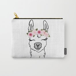 Floral Crown Llama Carry-All Pouch