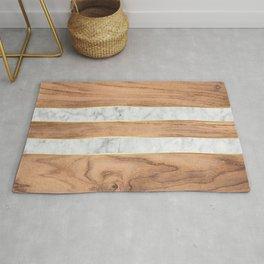 Striped Wood Grain Design - White Marble #497 Rug