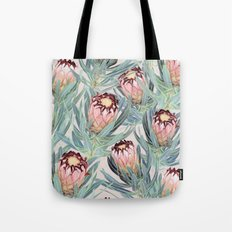 Pale Painted Protea Neriifolia Tote Bag