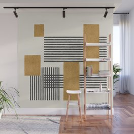 Stripes and Square Composition - Abstract Wall Mural