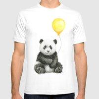 Panda Watercolor Animal with Yellow Balloon Nursery Baby Animals White MEDIUM Mens Fitted Tee