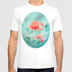 Fantasy Garden - Poppy Dream  MEDIUM White Mens Fitted Tee
