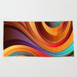 Abstract Colorful Swirls Beach Towel