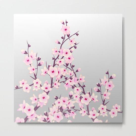 Cherry Blossoms Pink Gray Metal Print