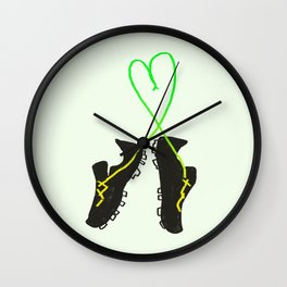 Green and Yellow Soccer Cleats with Heart Wall Clock