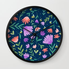 Flowers + Bees Wall Clock