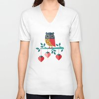 jazzberry V-neck T-shirts featuring OWL ALWAYS LOVE YOU by Daisy Beatrice