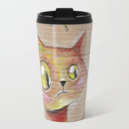 Suspicious Yellow Cat Travel Mug
