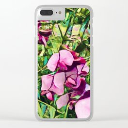 Pink Sweatpea Flowers Summertime Clear iPhone Case