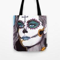 dia de los muertos Tote Bags featuring Dia de los Muertos by Joseph Walrave