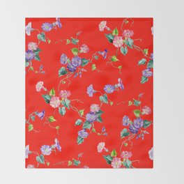 morning glories on red Throw Blanket