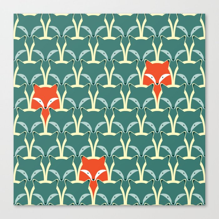 Seamless pattern with foxes and wolves Canvas Print