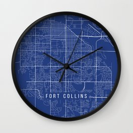 Fort Collins Map, USA - Blue Wall Clock