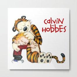 huggie Calvin And Hobbes Metal Print