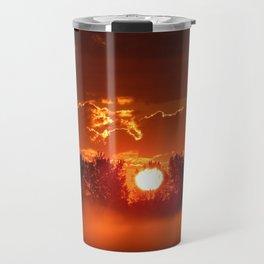Flaming Horses over the Foggy Sunrise Travel Mug