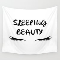 sleeping beauty Wall Tapestries featuring SLEEPING BEAUTY by I Love Decor