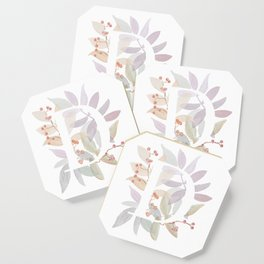 Floral Initial D - Rustic Watercolor Letter - Typography - Wreath Design Coaster