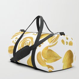 Hand painted faux gold white elegant floral pattern Duffle Bag