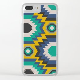 Ethnic in blue, green and yellow Clear iPhone Case