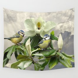 Blue Tits in Magnolia Tree Wall Tapestry