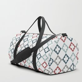 Modern Farmhouse Quilt Pattern Vintage Inspired NorthStar and Diamond Harlequin Print Duffle Bag