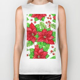 Poinsettia and holly berry watercolor Christmas pattern Biker Tank