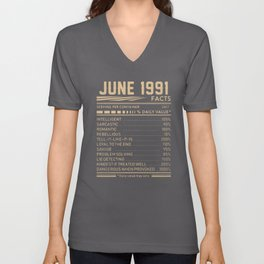 JUNE 1991 birthday t-shirts Unisex V-Neck