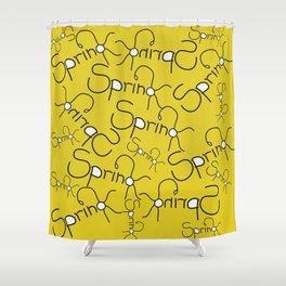 Graphic Design Hello Spring Shower Curtain