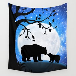 Moon and bears Wall Tapestry