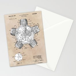 patent art Aldridge 1971 Radial engine Stationery Cards
