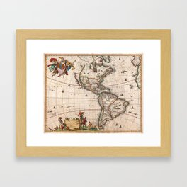 1658 Map of North America and South America with 2015 enhancements Framed Art Print