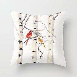 Birch Trees and Cardinal Throw Pillow