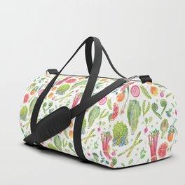 Spring Harvest Pattern White Duffle Bag