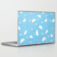planes Laptop & iPad Skins featuring Paper planes by Sil Elorduy