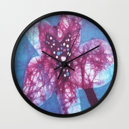Orchid flowers in Blue and Purple Wall Clock